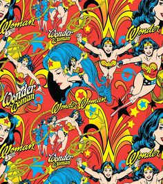 DC Comics Wonder Woman All Over Cotton Fabric