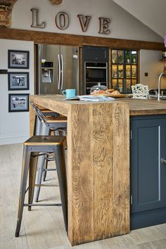 Project 19 – Wighill – The Main Company Kitchen Diner Extension, Open Plan Kitchen Diner, Open Plan Kitchen Living Room, Breakfast Bar Kitchen, Small Breakfast Bar, Wood Kitchen Island, Barn Kitchen, Reclaimed Kitchen, Log Home Kitchens
