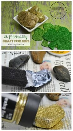St Patricks Day Crafts For kids, Easy to make DIY Pot of gold rocks. Perfect for preschool and older, school craft project
