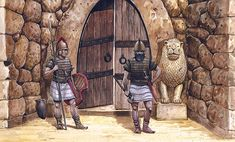 The main gate, the Lion Gate of Hattuscha, capital of the Hittite empire, 1,400 B.C. - art by Sascha Lunyakov