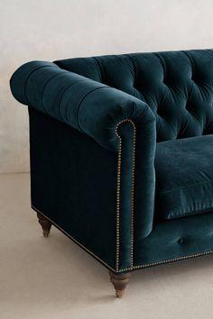 Slide View: 3: Velvet Lyre Chesterfield Sofa, Hickory