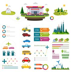 Gasoline oil with gas station infographic vector 04