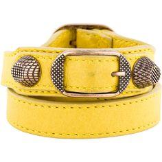 Balenciaga Arena Leather Wrap Bracelet (12.005 RUB) ❤ liked on Polyvore featuring jewelry, bracelets, yellow jewelry, balenciaga jewelry, balenciaga, leather jewelry and leather bangle