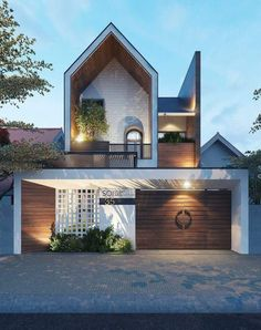 Home goals 💭 We are not sure if it's the cool roof design, white washed brickwork or feature timber cladding but we just love this home… Architecture Renovation, Facade Architecture, Residential Architecture, Minimalist Architecture, Roof Design, Facade Design, Exterior Design, Dream Home Design, Modern House Design
