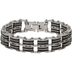 """Heirloom Finds Men's Bicycle Chain Stainless Steel and Black Rubber Bracelet Heirloom Finds. $16.99. Stylish Design of Stainless Steel and Black Rubber. Nice heavy weight and comfortable to wear. Bracelet measures 9"""" in length and .62"""" wide. Arrives Gift Boxed!. Perfect gift for a Man. Save 72% Off!"""