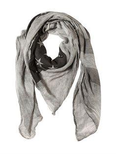 JOHN VARVATOS AMERICAN FLAG SILK & VISCOSE SCARF, GREY. #johnvarvatos #scarves & wraps