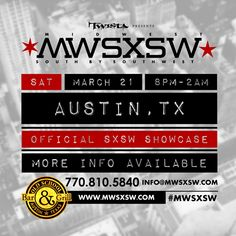 MXSXSW 2015 | Saturday, March 21, 2015 | 8pm-2am | Old School Bar & Grill: 401 E. 6th St., Austin, TX 78701 | Midwestern music showcase feat. Do or Die, Crucial Conflict, Murphy Lee, Deezy, Swisher, and more | Details & lineup: http://www.mwsxsw.com/