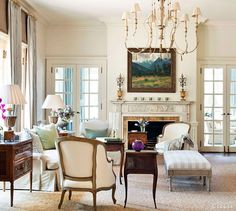 South Shore Decorating Blog: Hello, Gorgeous. I love the double French doors on both sides of the fireplace.