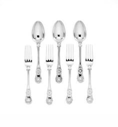 Six Victorian silver King's variant pattern dessert forks and six spoons, by Mary Chawner, London 1839
