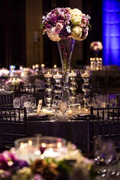 High center piece flower arrangements. September wedding flower colors. Four Seasons Baltimore wedding. Alternative September or Fall wedding colors- Neutral and purple color pallet. Blue Vanda Designs