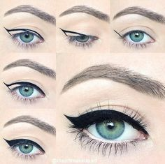 1960s winged eyeliner. It takes time and effort but this is how I wear my eyeliner now everytime I do my makeup and the outcome is so vintage and classy. :)