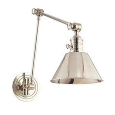 A reflective polished nickel wall sconce with great adjustability and style. The transitional Garden City light would be fantastic for bedside reading or in a workspace.