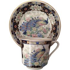 Beautiful Vintage Japanese Hand Painted Peacock Teacup and Saucer - Bands of Flowers on Navy Ground with Gold Gilt - Bird Tea Cup, Japan.
