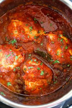 Chicken Cacciatore made in an Instant! The sauce is hearty and chunky, loaded with chicken, tomatoes, peppers and onions ( sometimes I add mushrooms too!) Great over pasta, squashta, rice or polenta.
