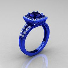 Renaissance Classic 14K Blue Gold 1.0 Carat Blue Sapphire Diamond Engagement Ring ... omg...and only $3499.00
