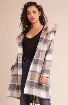 *Goes to Mammoth once*. The You Oughta Know plaid coat has a fur trim hood and button front closure. Shop BB Dakota now. Plaid Coat, Plaid Scarf, You Oughta Know, Fur Trim, Style Guides, Winter Fashion, Girls Dresses, Bb, Sweaters