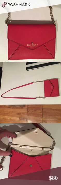 Kate Spade envelop cross-body purse This bag has been used once, it is basically brand new. This mini envelop bag is perfect for a night out. The strap is removable, and the bag can be used as a cute clutch as well. Fits a phone, a lipstick, keys, and has credit card slots kate spade Bags Mini Bags