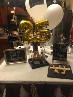 Male 25th Birthday Music Theme Gold Black Amp White