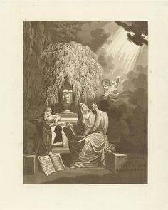 Jan Willem Pieneman   Memorieprent voor Johannes Hulsius van de Wijnpersse, Jan Willem Pieneman, 1810 - 1853   Prent ter nagedachtenis aan de predikant Johannes Hulsius van de Wijnpersse. Landschap met een sarcofaag. Een vrouw en kind treuren bij het monument. Het kind houdt een papier vast met het silhouetportret van de predikant. De vrouw kijkt op naar de hemel waar een putto haar wijst op het goddelijke licht.