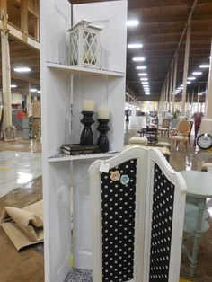 DIY hinged door shelves - these are used as displays at our antique booth