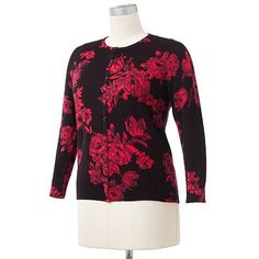 Croft and Barrow Floral Cardigan - Women's Plus