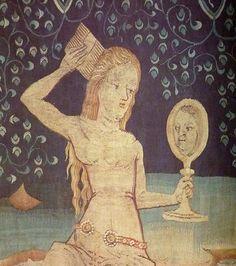 femme au miroir et au bain, tapisserie de l'apocalypse, Angers, 1380. France / beauty / comb / 14th century / medieval