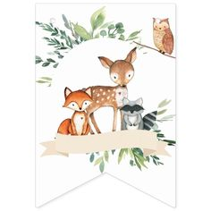 Whimsical woodland animals baby shower bunting flag featuring woodland animals baby deer, fox, raccoon, owl and hearts. Idee Baby Shower, Baby Shower Bunting, Baby Shower Themes, Baby Shower Decorations, Shower Banners, Baby Boy Shower, Woodland Animals Theme, Woodland Baby, Woodland Nursery