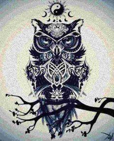 Un Patron sobre un  Buho alegorico, sabiduria y ying-yang, Saludos amigas.