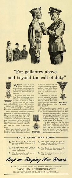 1943 Ad Pacquin World War II War Bonds Military Honor Medals Soldiers LF5