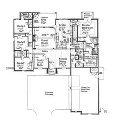 Home Plans HOMEPW76882 - 2,793 Square Feet, 4 Bedroom 3 Bathroom French Country Home with 3 Garage Bays