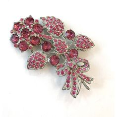 Vintage Pink Rhinestone Flower Brooch Antique Pink Crystal Floral Pin... ($39) ❤ liked on Polyvore featuring jewelry and brooches
