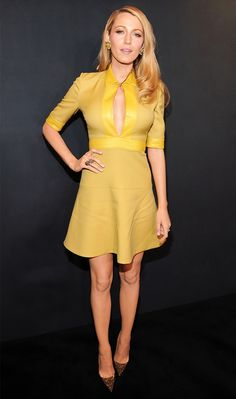 Blake Lively's mod approach to the deep plunge, in a Gucci dress, shows plenty of skin, but is still tasteful // #celebritystyle