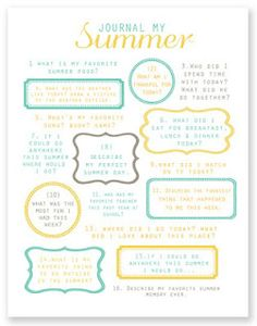 Six Sisters' Stuff: 100 Things To Do With Kids This Summer-  Journaling prompts