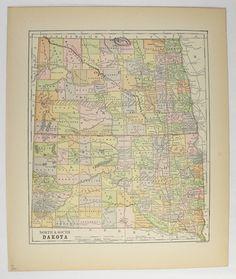 Vintage Map North Dakota, South Dakota Map 1896 SD Map ND, Antique North Dakota Map, South Dakota Office Art Gift for Coworker available from OldMapsandPrints.Etsy.com #NorthDakota #SouthDakota
