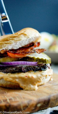Bacon Fried Cheeseburger with Spicy Aioli