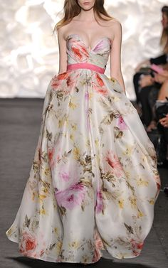 Rose Print Strapless Gown by Naeem Khan for Preorder on Moda Operandi