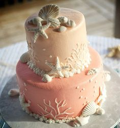 peach and coral beach wedding cake ~ we ❤ this! moncheribridals.com