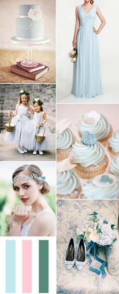 light blue summer wedding ideas and bridesmaid dresses style