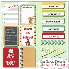 #FREEBIE #FREE School & Book Lovers Digital Scrapbook Freebie
