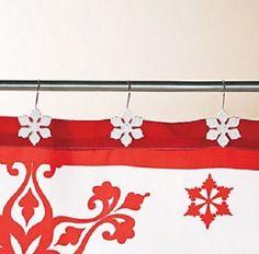 Winter Bathroom Shower Curtain Hooks White Swirl Snowflakes 12-PCS 4.5
