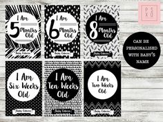 Baby Milestone Cards Printable Monochrome Black & by PSXODesign
