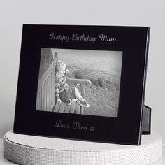 Engraved Black Glass Photo Frame