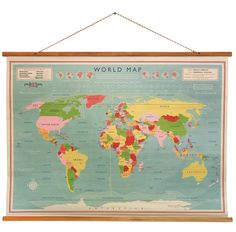 These stunning vintage style wall maps make a fantastic signature piece for any living room or study! Great to record your travels on too! $66.16