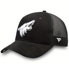 big sale 0ba20 11760 Men s Arizona Coyotes Fanatics Branded Black Black and White Brushed  Trucker Adjustable Hat, Your Price   21.99. NHL Caps   Hats