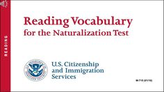 Reading Vocabulary for The US Citizenship Naturalization Test