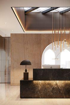 Les plus belles Lobbies et Réceptions Hotel Lobby Design, Modern Hotel Lobby, Office Interior Design, Luxury Interior Design, Office Ceiling Design, Luxury Hotel Design, Office Designs, Modern Interior, Hotel Interiors