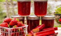 Rhubarb Strawberry Jam that tastes like summer in a jar. It is super-easy to make.