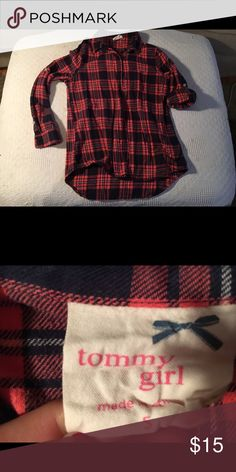 Tommy Girl Plaid Button Up Shirt Looks brand new hardly worn! The sleeves can either be rolled up or left down that is why they are different in the photo. Super cute under a sweater!Navy and Peach colored                                                                          ‼️Please use the offer button and not the comments section 🚫No trades please  🚭From a smoke-free home 🛍Always good quality items 🖐🏻⭐️ 5-star rating 🔥Fast shipper 😍If you like this check out the rest of my…