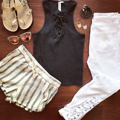 Lace up tank Wear 2 ways: Daytime-drawstring shorts Gold sandals Quay Australia sunglasses Night out- white jeans