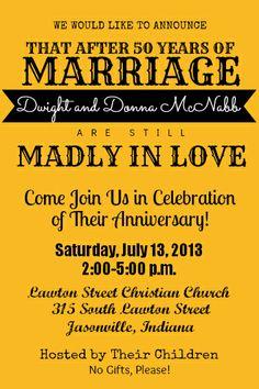 Invitation to my parent's 50th wedding anniversary.